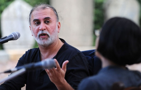 Author and journalist Tarun Tejpal talks to an audience during the Kathmandu Literary Jatra in Kathmandu on September 16, 2011. (Prakash Mathema/AFP/Getty Images)