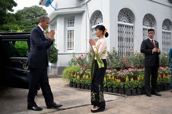 U.S. President Barack Obama is greeted by Aung San Suu Kyi during a stop at her private residence in Yangon on November 19, 2012. (Pete Souza/U.S. Department of State)