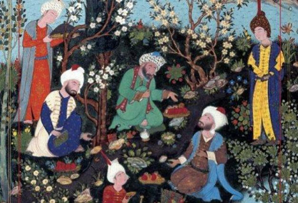"Detail from ""Ferdowsi encounters the court poets of Ghazna,"" from the Shahnameh of Shah Tahmasp, ca. 1532, attributed to Aqa Mirak (Aga Khan Trust for Culture). Featured on the cover of ""The World of Persian Literary Humanism"" by Hamid Dabashi (Harvard University Press, 2012)."