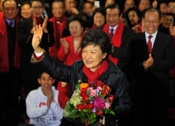South Korea's president-elect Park Geun-Hye waves to supporters in Seoul on Dec. 19, 2012. (Kim Jae-Hwan/AFP/Getty Images)