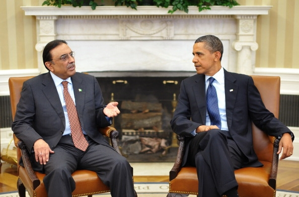 Pakistan's President Asif Ali Zardari meets with President Barack Obama in the Oval Office, January 2010. (Mandel Ngan/AFP/Getty Images)