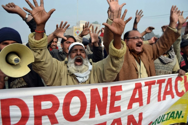Pakistani demonstrators shout anti-US slogans during a protest in Multan on January 8, 2013, against the drone attacks in Pakistan's tribal areas. (S.S Mirza/AFP/Getty Images)