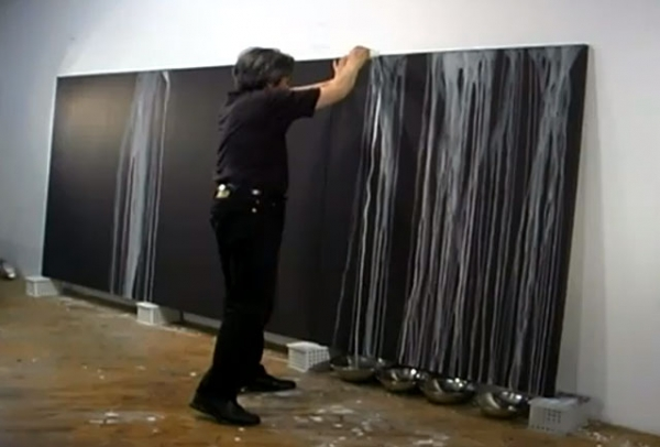 Painter Hiroshi Senju at work, from his video profile. (http://www.youtube.com/watch?feature=player_embedded&v=8SP7tbMRCCQ#!)