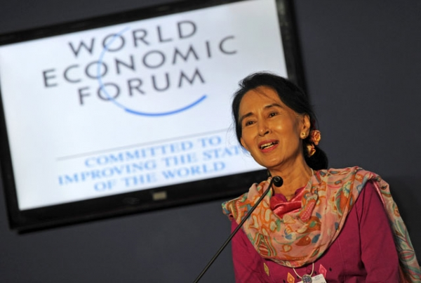 Myanmar democracy leader Aung San Suu Kyi speaking at the World Economic Forum on East Asia, where she declared her intention to run for president, at the Myanmar International Convention Center in Naypyidaw on June 6, 2013. (Soe Than WIN/AFP/Getty Images)