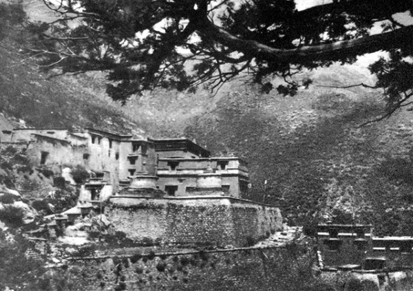 A historic photograph of the Densatil Monastery taken by an anonymous photographer at an unknown date. Image courtesy of David Holler.