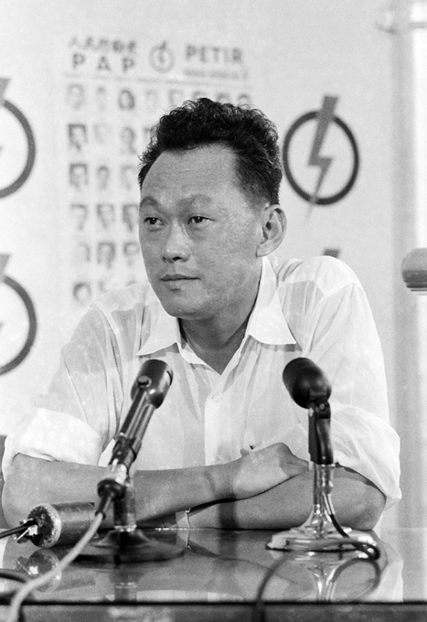 In a picture taken on June 5, 1959 Lee Kuan Yew, leader of People's Action Party poses after winning the elections in Singapore. Lee served as prime minister from 1959, when Singapore gained self-rule from colonial ruler Britain, until he stepped down in 1990 in favor of his deputy Goh Chok Tong, who in turn handed power to Lee Hsien Loong in 2004. (Terence Khoo/AFP/Getty Images)