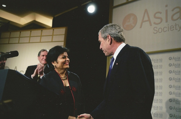 George W. Bush meets Asia Society President Vishakha Desai in 2006. (Paul Morse/White House)