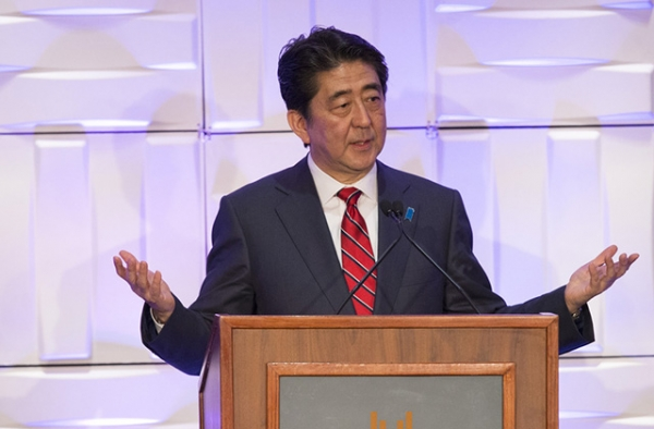 Prime Minister Shinzo Abe of Japan speaks during a May 1, 2015 luncheon co-sponsored by Asia Society Southern California in Los Angeles, California. (Mario Anzuoni/Getty Images)