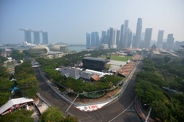 Hazy conditions cover the Marina Bay Circuit before the start of the practice session for the Formula One Singapore Grand Prix in Singapore on September 19, 2015. (Mohd Fyrol/AFP/Getty Images)