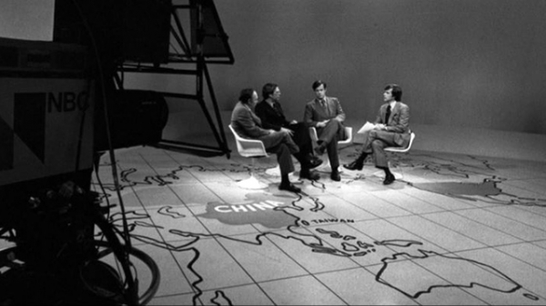 (L to R) Stanley Karnow, Winston Lord, and Robert B. Oxnam discuss the state of U.S.-China relations on the Today Show with host Tom Brokaw in 1977. (Dan Sterbling)