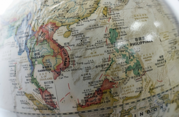 The South China Sea (C) is seen on a globe for sale at a bookstore in Beijing on June 15, 2016. (Greg Baker/AFP/Getty Images)