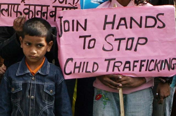 An Indian child attends a protest in New Delhi on the Global Day against Child Trafficking. (Raveendran/AFP/Getty)