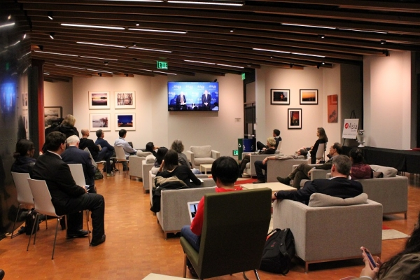 Overflow seating with a live feed of the event was available in the foyer (Asia Society).
