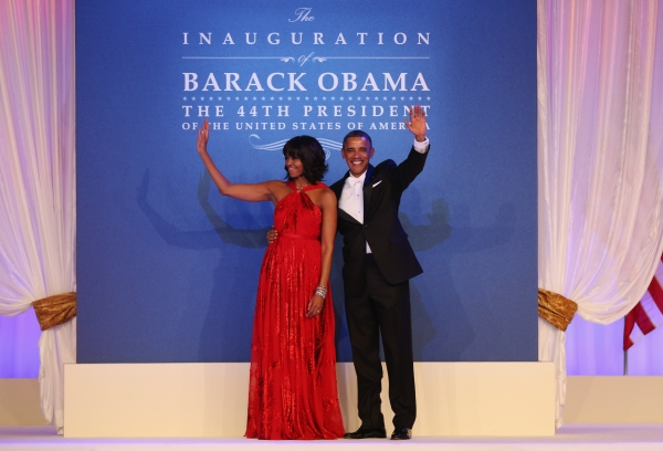 Wearing the red gown designed by Taiwanese-American designer Jason Wu at the Public Inaugural Ball on January 21, 2013 in Washington, DC. (Mario Tama/Getty Images)