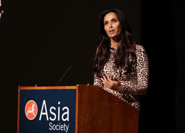 Padma Lakshmi reads an excerpt from her new memoir at Asia Society in New York on Thursday, March 10. (Ellen Wallop/Asia Society)