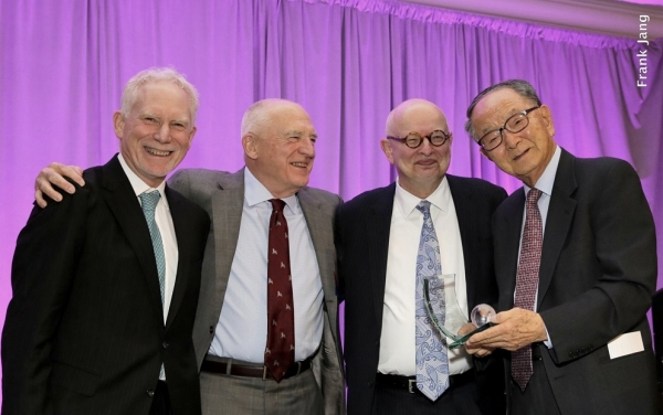 (From left to right) ASNC's Executive Director, Bruce Pickering and ASNC Advisory Board Co-Chairs, Jack Wadsworth and Kenneth P. Wilcox, present the Leadership and Excellence Award in Philanthropy to Chong-Moon Lee, Chairman Emeritus, ASNC (Frank Jang Asia Society)