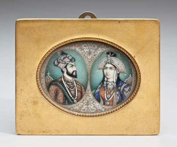 Double Portrait of Mughal Emperor Shah Jahan (1592-1666) and Empress Mumtaz (1593-1631), India, late 19th century, Colors and gold on ivory, Bequest of J. Ackerman Coles, 1926, Collection of the Newark Museum 26.1133