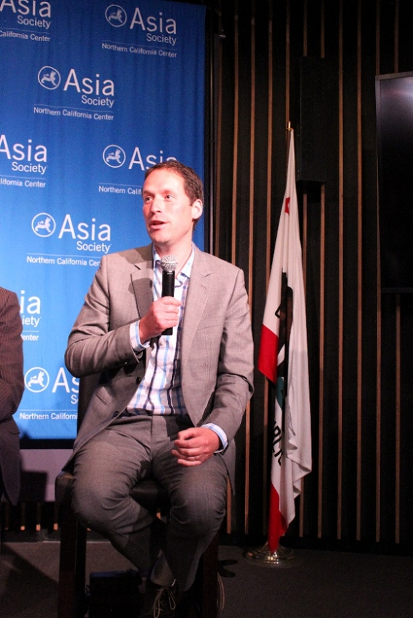 Andy Swanton, Vice President of BYD America, talked about electric vehicles in China. (Asia Society)
