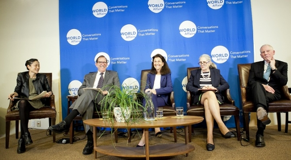 The panelists have a chuckle in the midst the discussion. (Whitney Legge/The Asia Foundation)