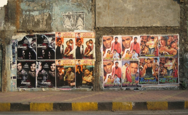 Posters of newly released Bollywood movies adorn the streets. (Angeline Thangaperakasam and Michael Newbill/Asia Society India Centre)
