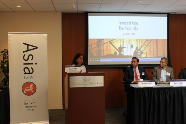 "Anjini Kochar of the Stanford Center for International Development moderated ""Forecast Asia: The Next India"" at Wilson Sonsini Goodrich & Rosati in Palo Alto on April 18, 2016. Speakers included: Sumir Chadha, Naren Gupta, Bakul Joshi, and Raj Judge. WSGR hosted the event and TiE co-sponsored.(Asia Society)"