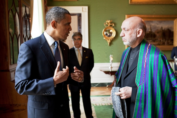 President Barack Obama converses with President Hamid Karzai of Afghanistan at the White House in Washington, D.C., on May 12, 2010. (U.S. Department of State/Flickr)