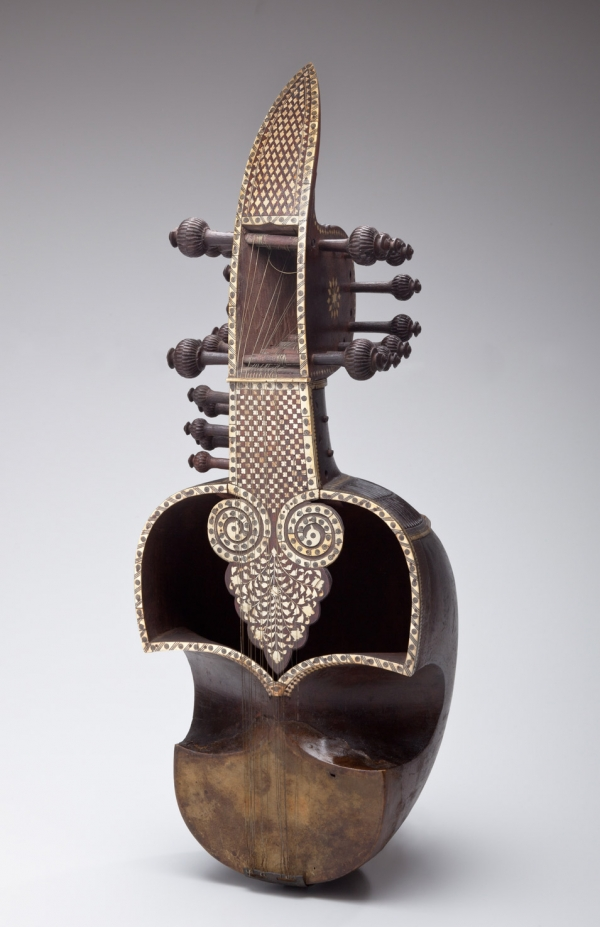 Sarinda with Waq-Waq Tree, Avian, Floral and Geometric Motifs, India, 19th century, late Mughal Period (1526-1857), Wood, bone, skin and sinew, Bequest of Rusell Barclay Kingman, 1959, Collection of the Newark Museum 59.340
