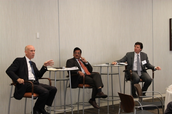 "C. Lawrence ""Larry"" Greenwood of Japan Society addresses a question. Greenwood joined Dr. Vinod (Vinnie) Aggarwal of UC Berkeley and Aaron Bielenberg of McKinsey for ""Filling Asia's Infrastructure Gap: Financing The Regions Growth"" on June 7, 2016 at the Federal Reserve Bank of San Francisco. (Asia Society)"