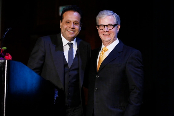 From left, 2015 Entertainment Visionary award winner Kishore Lulla, Group Executive Chairman, Eros International and Thomas E. McLain, Chairman Asia Society Southern California pose during the 2015 Asia Society Southern California Annual Gala on Thursday, June 20, 2015, in Century City, Calif. (Photo by Ryan Miller/Capture Imaging)