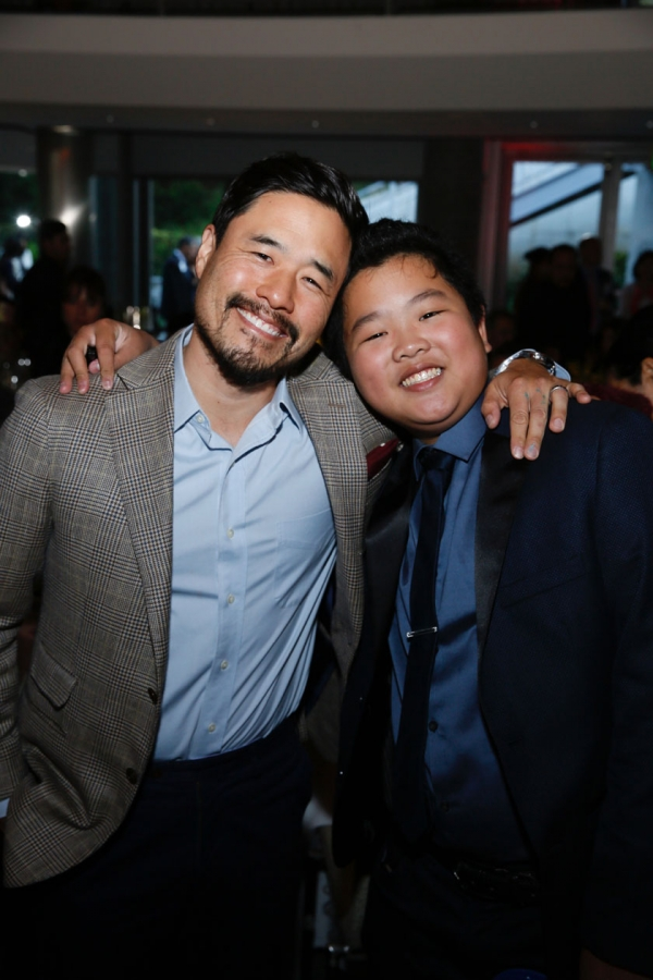 From left, actors Randal Park and Hudson Yang pose during the Asia Society Southern California 2017 Annual Gala at the Skirball Cultural Center on May 7, 2017, in Los Angeles, California. (Photo by Ryan Miller/Capture Imaging)