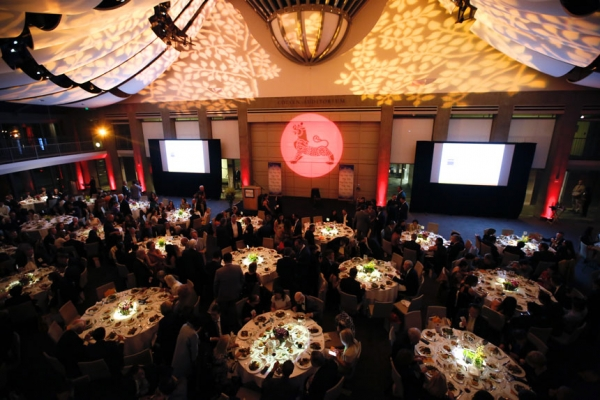 The ballroom during the Asia Society Southern California 2017 Annual Gala at the Skirball Cultural Center on May 7, 2017, in Los Angeles , California. (Photo by Ryan Miller/Capture Imaging)
