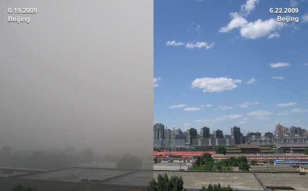 Photographs of Beijing on a blue-sky day (June 19, 2009) and a smoggy day (June 22, 2009). (Lin Yang and John Billingsley/Asia Society)