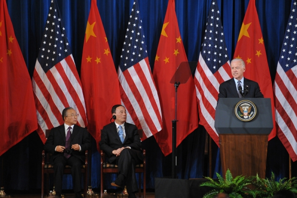 US VP Joe Biden speaks during the opening session of the 2011 US-China Strategic and Economic Dialogue May 9, 2011 in in Washington, DC. Looking on from left are: State Councilor Dai Bingguo and Vice Premier Wang Qishan. (Mandel Ngan/AFP/Getty Images)
