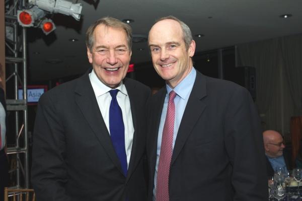 Charlie Rose, left, and Michael Evans. (Ann Billingsley/Asia Society)