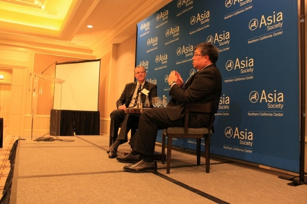 Chris Cooper of Deloitte and Timothy Wong of DBS in a discussion about economic prospects in China, India, and Indonesia at an event at the Four Seasons in October. (Asia Society)