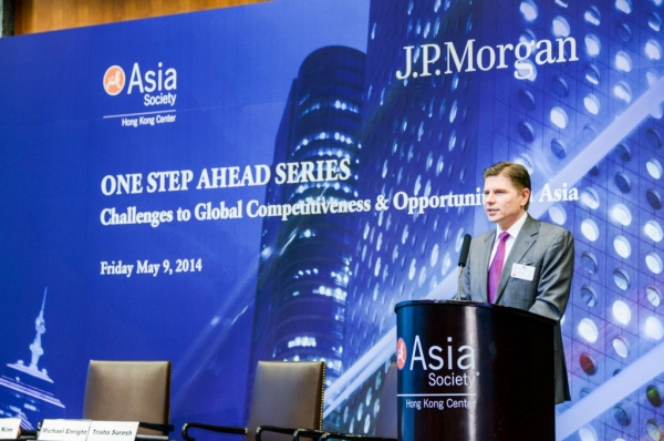 Nicolas Alejandro Aguzin, Chairman and CEO of Asia Pacific, J.P. Morgan, welcomed guests to the symposium on May 9, 2014. (Asia Society Hong Kong Center)