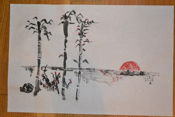 January 28 - A painting using classical Japanese ink brush techniques created by one of the guests at Asia Society's sake and sumi-e program (John Zentgraf)