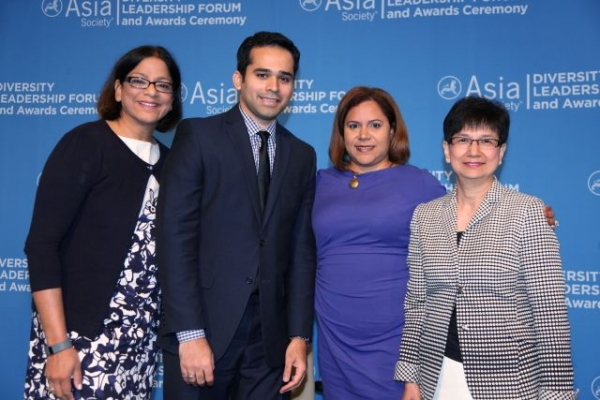 (Left to right) Subha V. Barry of Working Mother Media, Mohammed Farshori of AT&T, Anilu Vazquez-Ubarri of Goldman Sachs, and Belinda C. Tang of IBM after a discussion on initiatives advancing APA talent. (Ellen Wallop/Asia Society)