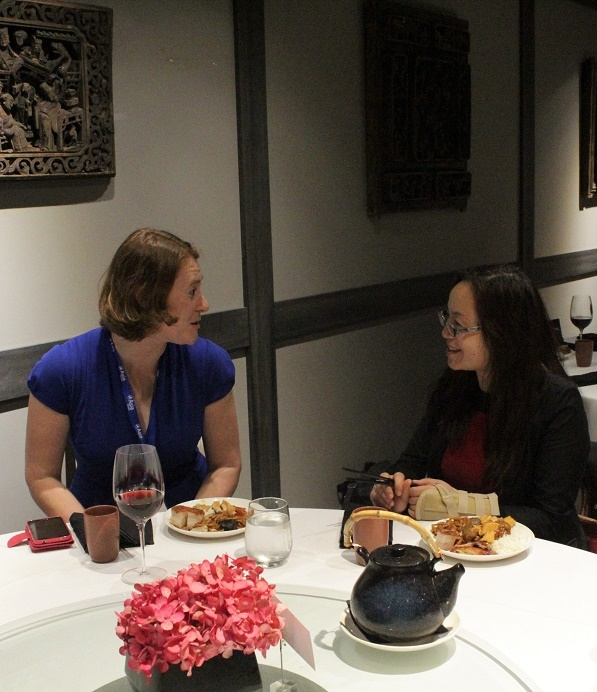 Eve Cary of Asia Society Northern California and Amy Lou of Wells Fargo chat during the exclusive dinner at Crystal Jade the night prior to DLF. (Stesha Marcon)