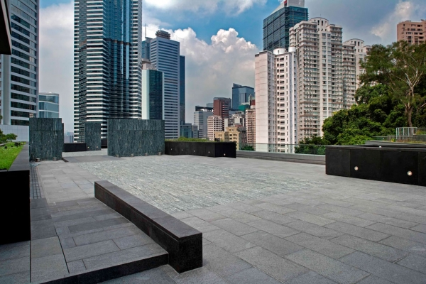 Set against the Admiralty skyline, the Joseph Lau & Josephine Lau Roof Garden is envisioned as an ideal outdoor venue for the Center's public programs. (Asia Society Hong Kong Center)
