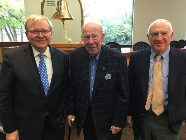 The Honorable Kevin Rudd, The Honorable George Shultz, and ASNC Co-Chairman Jack Wadsworth pose for a photo after a luncheon at the Hoover Institution on Stanford University's campus. (Asia Society)