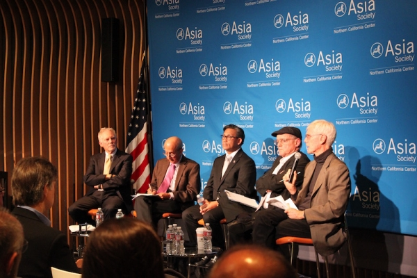 Schell offered remarks on the second panel about China. (Yiwen Zhang/Asia Society)