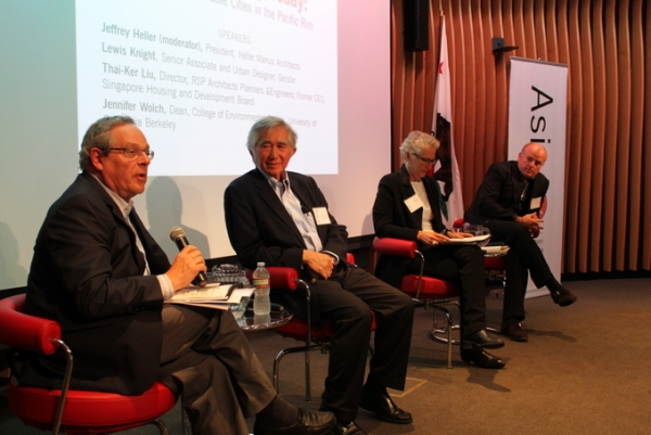 Panelists included Jeffrey Heller, Thai-Ker Liu, Jennifer Wolch, and Lewis Knight. (Asia Society)
