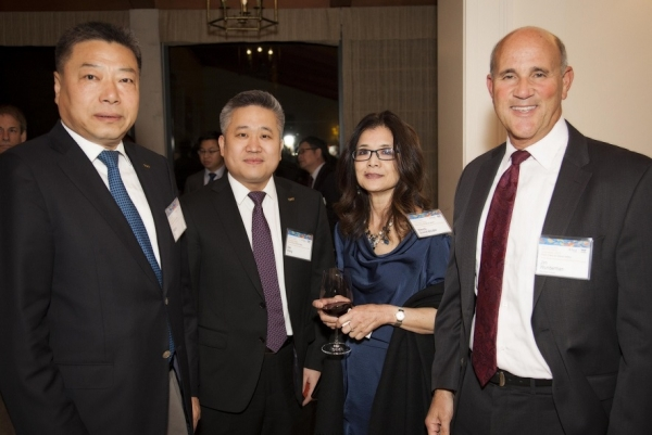"Ni Xiangyu and Wang Wei of THT with Wendy Soone-Broder of Asia Society and Jim Wunderman of Bay Area Council at ""Innovation 2015."" (Asia Society)"