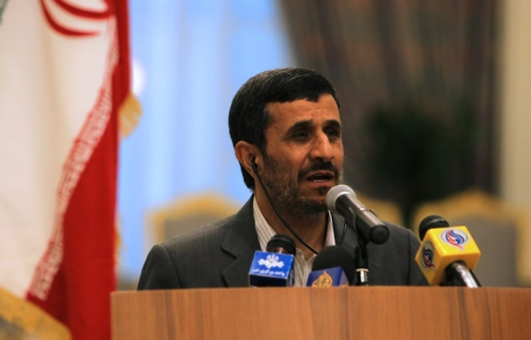 Iranian President Mahmoud Ahmadinejad speaks during a press conference in Doha on September 5, 2010 (Karim Jaafar/AFP/Getty Images)