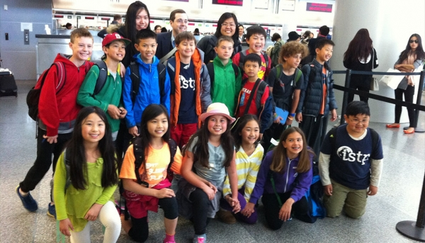 ISTP Elementary School students at the airport en route to China (International School of the Peninsula)