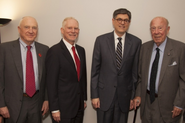 U.S. Secretary of the Treasury, Jack Lew, delivered an exclusive address at ASNC in March. Pictured here with ASNC Co-Chair Jack Wadsworth, ASNC Executive Director, N. Bruce Pickering, and former Secretary of the Treasury, Labor, and State, George Shultz. (Asia Society)