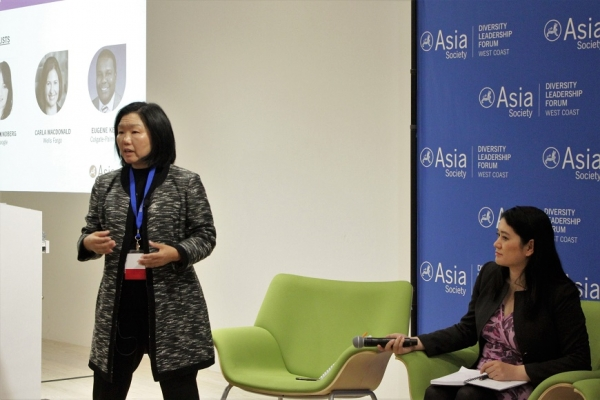 "Linda Akutagawa of LEAP actively moderated the afternoon session, ""Closing the Gender Gap: Advancing Asian American Diverse Talent"" (Stesha Marcon)."