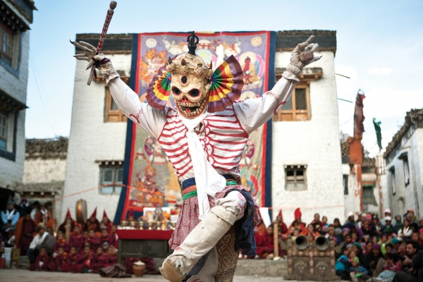 Monks dress as different animals, demons and divinities to enact an epic fight between good and evil during the Tiji Festival in Lo Manthang. (Taylor Weidman)