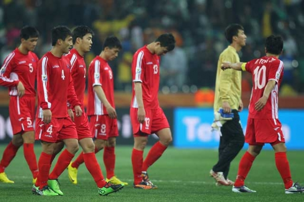 The North Korea team after defeat and elimination from the tournament during the 2010 FIFA World Cup South Africa Group G match between North Korea and Ivory Coast on June 25, 2010. (Michael Steele/Getty Images)